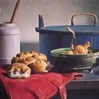 Afbeelding Schilderij Henk Helmantel stilleven tafel met brood en ui